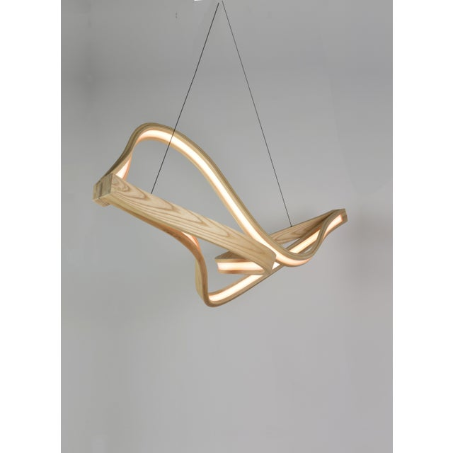 Wood Tangle Curved Wooden Pendant Light With Intertangled Arms For Sale - Image 7 of 7