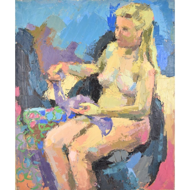 Lars Birger Sponberg (Illinois, 1919 - 2018), oil painting on canvas depicting a nude blonde haired woman seated looking...