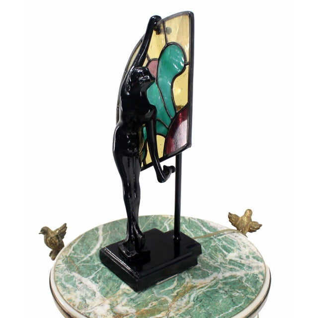 Art Deco Nouveau Style Nude Stained Glass Table Lamp For Sale - Image 4 of 8