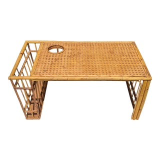 Vintage Rattan and Wicker Breakfast Bed Tray For Sale