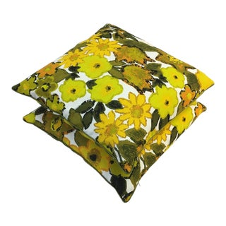 Vintage Yellow and Green Modern Floral Abstract Barkcloth Pillows - a Pair For Sale