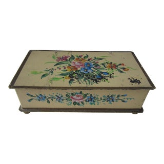 Shabby Chic Vintage Hand-Painted Yellow Flower Box For Sale