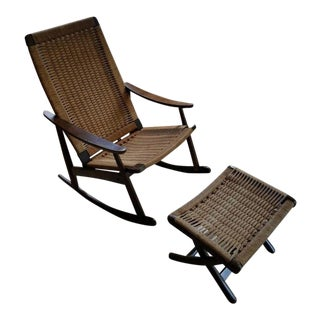 Mid Century Modern Paper Corded Rocking Chair & Ottoman For Sale