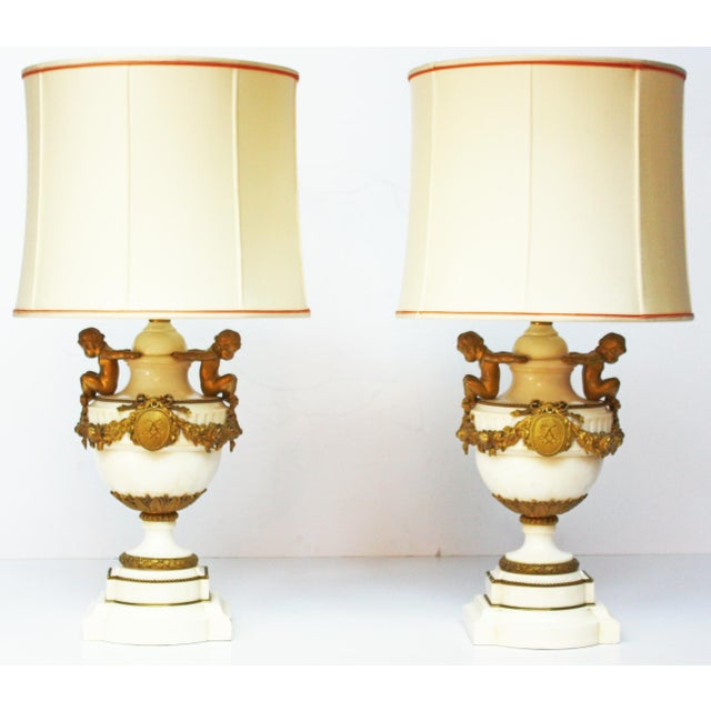 Mid 19th Century Pair of Louis XVI Style Marble and Gilt Bronze Lamps For Sale - Image 5 of 5