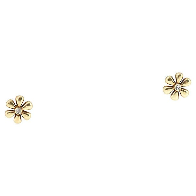 1990s Vintage Diamond & Gold Daisy Flower Earrings- A Pair For Sale - Image 4 of 8