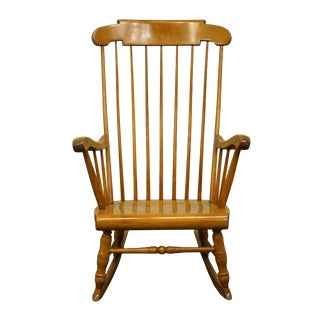Late 20th Century S Bent Bros Gardener, Mass Solid Hard Rock Maple Colonial Style Rocking Chair For Sale