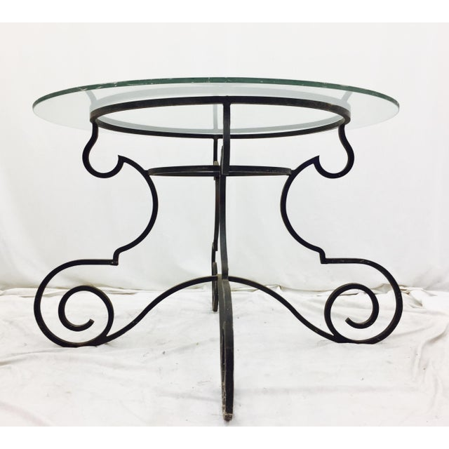 Vintage Wrought Iron & Glass Top Table For Sale - Image 5 of 6