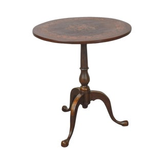 Antique Mahogany Marquetry Inlaid Round Tilt Top Side Table For Sale