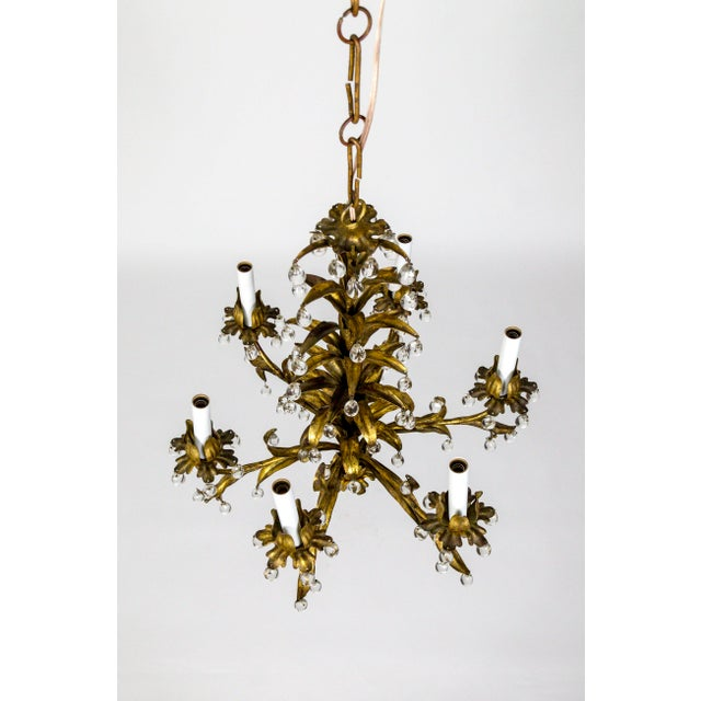 Palm Beach Style Gilt Leaves and Grape Crystal Chandelier For Sale - Image 4 of 13