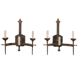 French Three-Light Mid-Century Torch-Style Iron Sconces - a Pair For Sale
