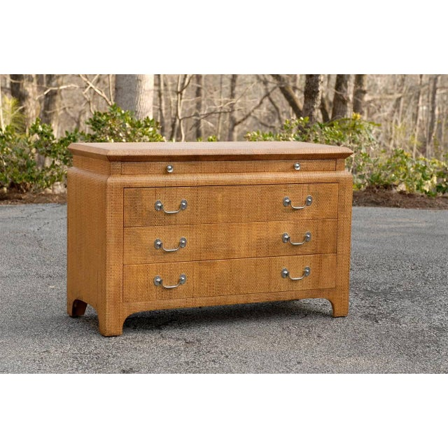 A Stunning raffia three ( 3 ) drawer chest, aged to absolute perfection. Stout, solid hardwood case construction, drawers...