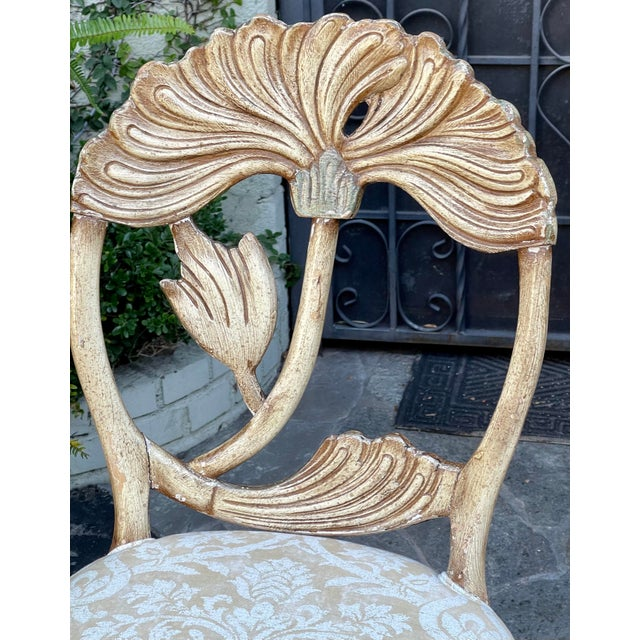 Mid-Century Modern Vintage Fortuny Upholstered Carved Italian Grotto Chairs - a Pair For Sale - Image 3 of 8