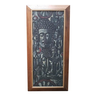 Buddha Themed Sand Painting by W. Suntipob (1969) For Sale