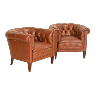 Antique Vintage Tan Leather Chesterfield Club Chairs - a Pair For Sale