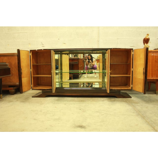 Classic French Art Deco Macassar Sideboard or Bar With Parchment Center Door By Maurice Rinck , Circa 1940s. - Image 3 of 11