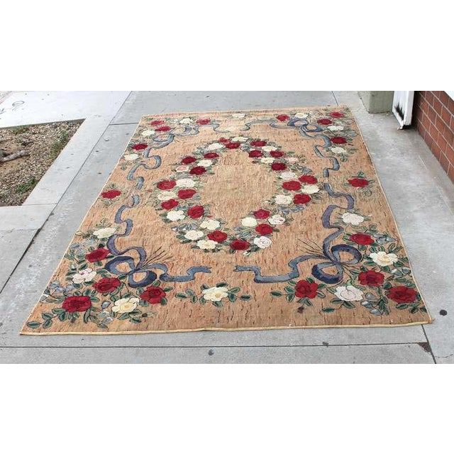 This large room sized hand hooked floral rug was created in the tradition of master rug designer, Pearl McGown. This rug...