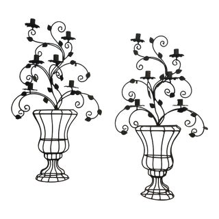 Iron Wall Candle Sconces - a Pair For Sale