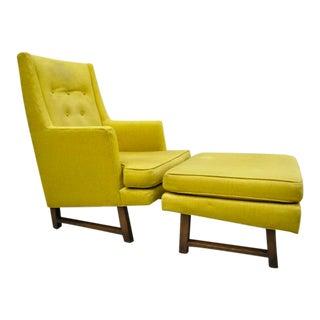 Edward Wormley for Dunbar Walnut Frame High Back Lounge Chair and Ottoman For Sale