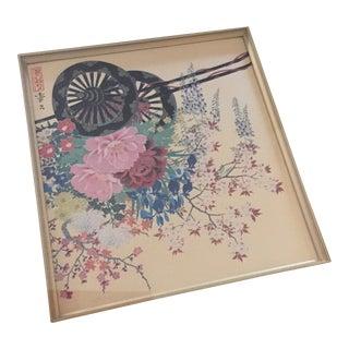 1950s Vintage Japanese Silk Framed Oriental Wall Art For Sale
