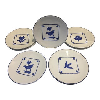 Porcelaine De Paris Blue & White Plates - Set of 8 For Sale