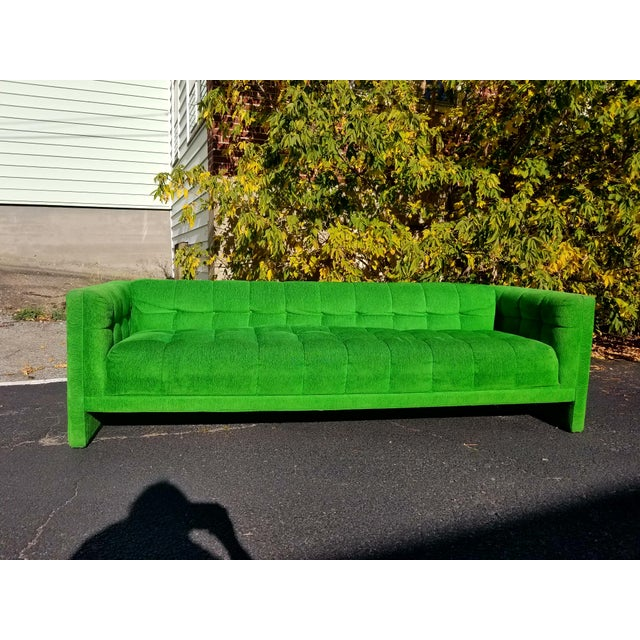 Stunning Vintage Kelly Green Velvet Sofa - MOD retro Mid Century Modern Green Couch Amazing Condition Couch! Plush Green...