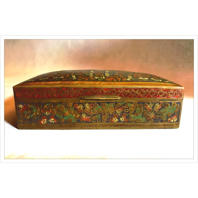 French Antique French Enamel Champleve Box For Sale - Image 3 of 11