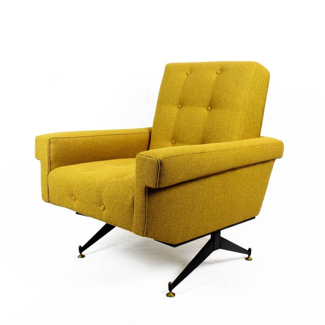 Mid-Century Modern 1960s Pair of Padded Armchairs, Yellow Upholstery, Steel, Brass - Italy For Sale - Image 3 of 11