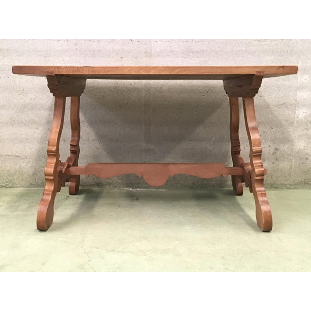 1940s Early 20th Century Spanish PineTrestle Table With Wood Stretcher For Sale - Image 5 of 12