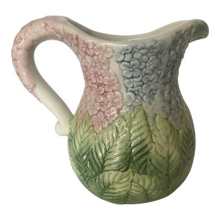 Vintage Majolica Hydrangea Ceramic Pitcher For Sale