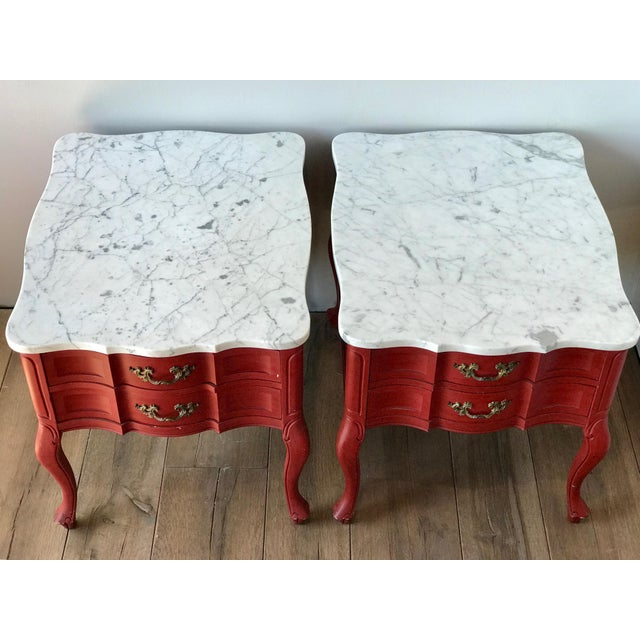 Antique Hammary French Provincial Marble Side Tables - A Pair - Image 13 of 13
