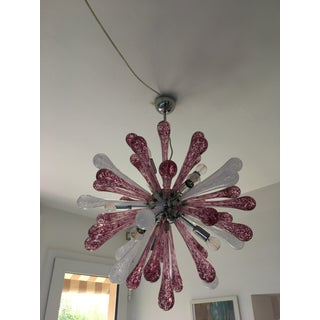 Red and White Murano Glass Sputnik Chandelier Preview