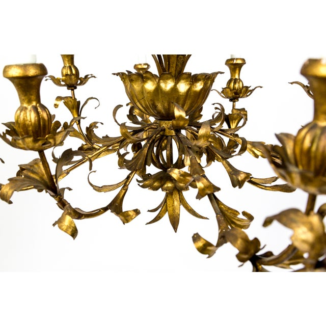 Gilt Palm Leaf Regency Chandeliers (2 Available) For Sale - Image 10 of 13