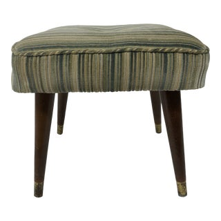 Mid Century Modern Upholstered Foot Stool For Sale