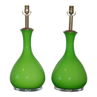 Marbro Murano Glass Table Lamps Apple Green For Sale