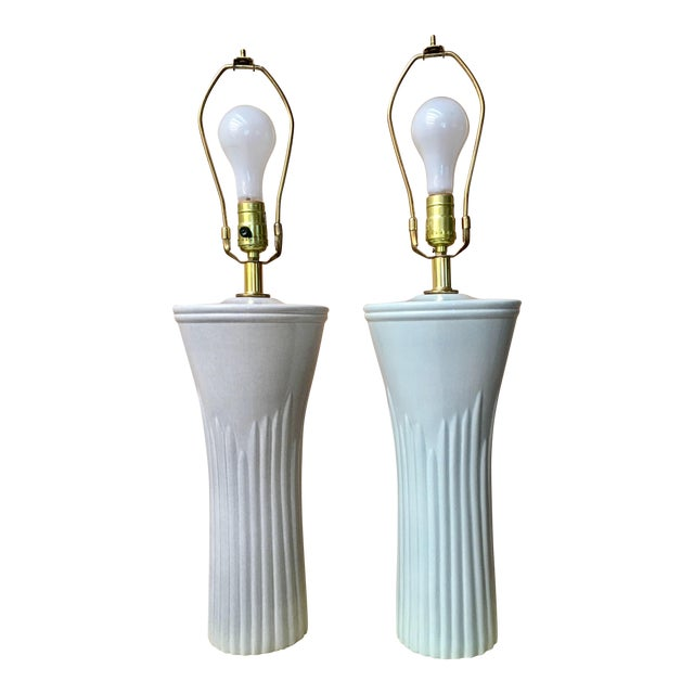Sea Foam Table Lamps - a Pair - Image 1 of 4