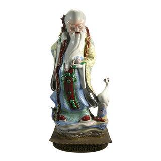 Early 20th Century Chinese God of Longevity Shou Lao Porcelain Figurine For Sale