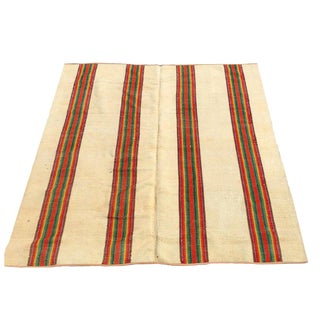19th Century American Rainbow Striped Flat-Weave Carpet - 6′8″ × 7′7″ For Sale