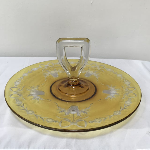 Depression Glass Yellow Flashed Etched Center Handle Sandwich Tray For Sale In Phoenix - Image 6 of 6