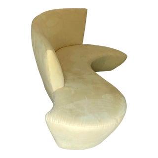 90s Postmodern Vladimir Kagan Bilbao Sofa in Pale Yellow For Sale