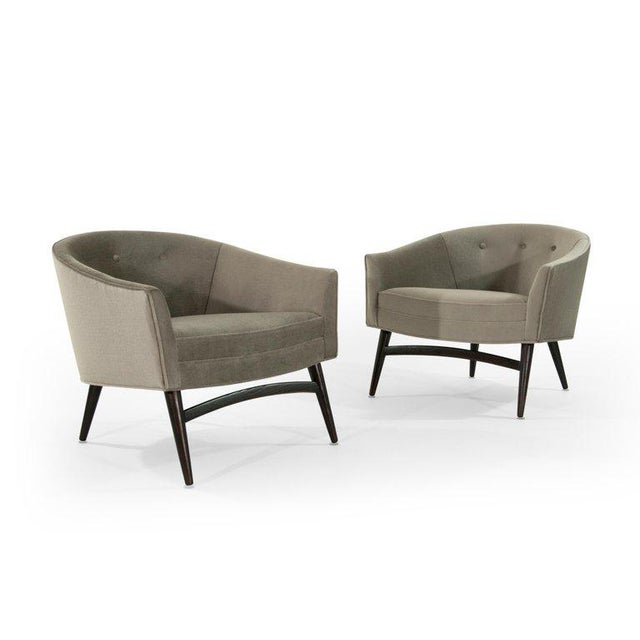 Wood Pair of Italian Barrel Back Lounge Chairs in Champagne Mohair, 1950s For Sale - Image 7 of 13