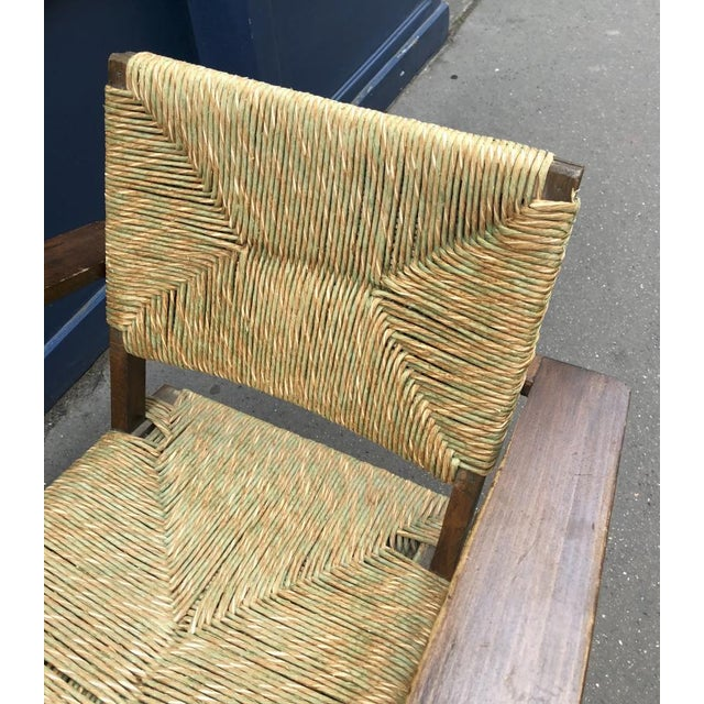 Audoux Minet Pair of Bent Wood Lounge Chair With a Rare Rush Cover For Sale - Image 6 of 7
