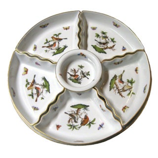 Herend Rothschild Bird 7 Piece Horderves Platter For Sale