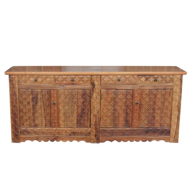 Diamond Carved Enfilade Teak Wood Buffet - Image 9 of 9