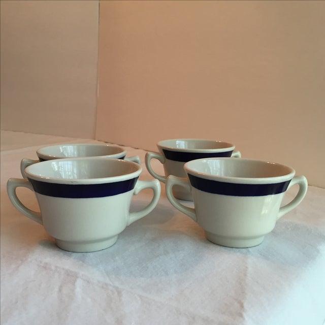 White & Blue Bouillon Soup Bowls - Set of 4 For Sale - Image 7 of 11