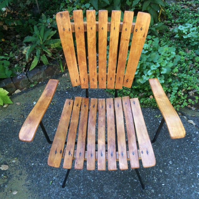 Brown 1950s Vintage Umanoff Slat Dining Chairs- Set of 6 For Sale - Image 8 of 13
