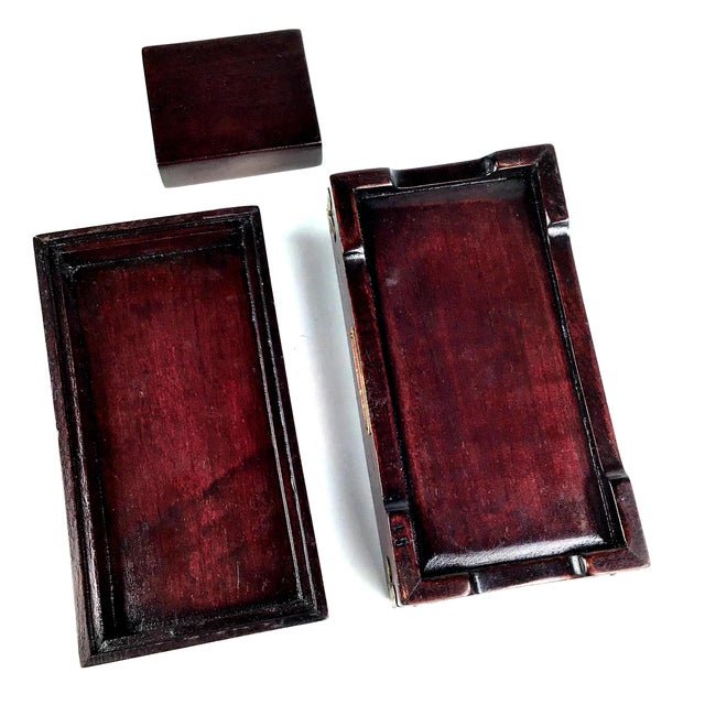 Metal 1920s Chinese Jade & Rosewood Cigarette Box For Sale - Image 7 of 13