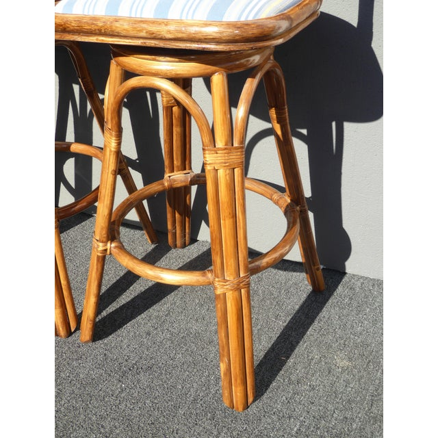 Vintage Tiki Palm Beach Bamboo Rattan Bar Stools - A Pair - Image 8 of 10