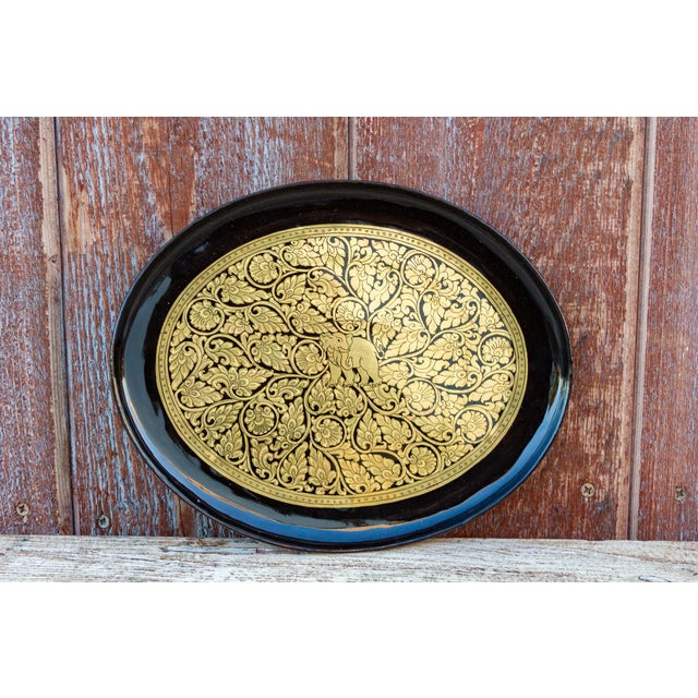 Gilt and Black Painted Tray For Sale - Image 4 of 7