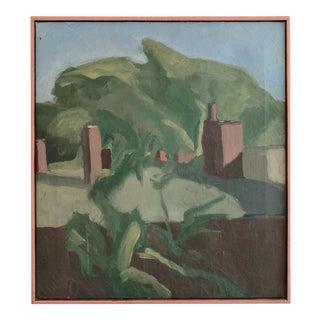 Stuart M Egnal (1940-1966) Original Vintage Oil on Canvas Circa 1962 Titled Chimneys in Florence For Sale