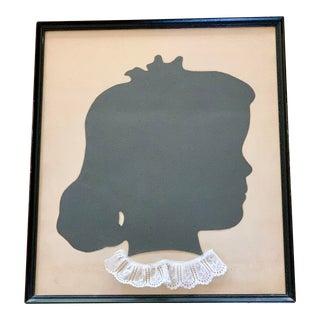 Midcentury Schoolgirl Framed Silhouette Art For Sale